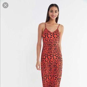 Urban outfitters cheetah slip dress size xs